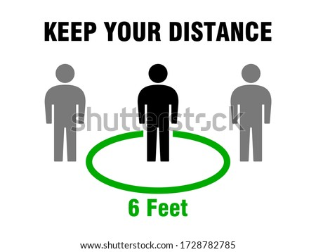 Keep Your Distance Social Distancing 6 Feet or 6 ft Instruction Icon. Vector Image.