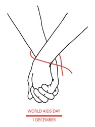 Keep your hands together. AIDS Day. December 1st. vector. flat style. Hands of partners together. red tape around the wrist. Suitable for specialized, informational literature, posters and manuals.