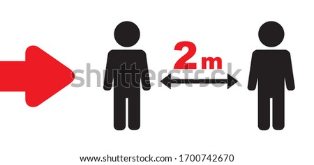 Keeping a Distance Vector Sign. 2 m Rule. Social Distancing Vector Icon. Red-Black Sign on a White. Social Distancing Campaign. Design Showing 2 m Distance from Each Other. Physical Distancing Idea. Zdjęcia stock ©