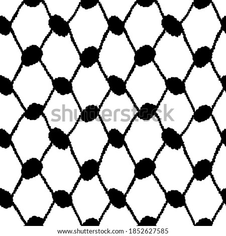 Keffiyeh Seamless Pattern. modern pattern endless checkered motif. Black and white contrast design. Simple geometric all over print block for apparel textile, ladies dress fabric, mens shirt, scarf.