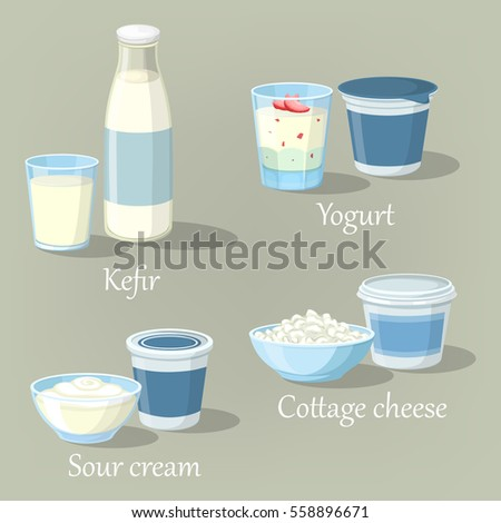 kefir bottle and yogurt with