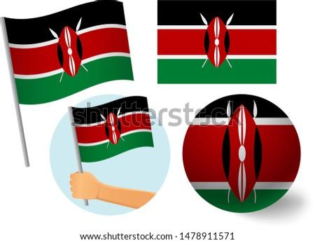Kenya flag icon set. National flag of Kenya vector illustration