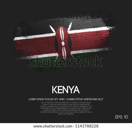 Kenya Flag Made of Glitter Sparkle Brush Paint Vector