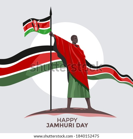 Kenya independence day or happy jamhuri day concept Vector Illustration ストックフォト ©