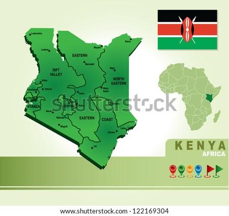 Kenya vector map and flag