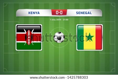 Kenya vs Senegal scoreboard broadcast template for sport soccer africa tournament 2019 Group C and football championship in egypt vector illustration