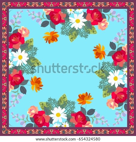 kerchief with bouquets of