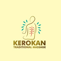 kerokan has mean traditional massage. logo vector with abstract man illustration in eps10