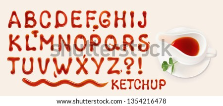 ketchup font. set of vector letters of tomato sauce Foto d'archivio ©