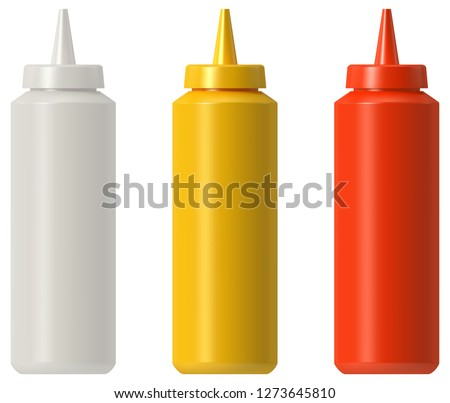 Ketchup mustard mayo squeeze bottle Foto d'archivio ©