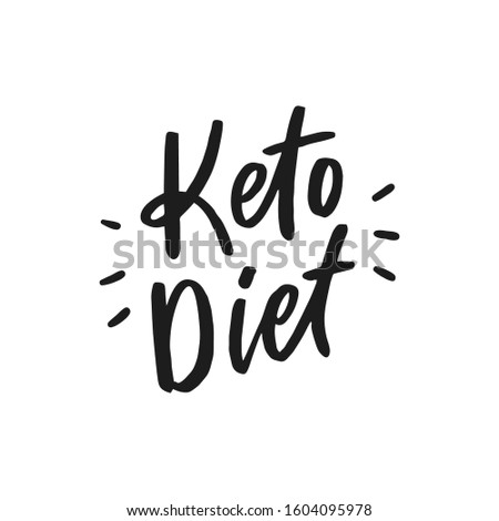 Keto diet hand drawn lettering words for overlay, print. Typographic sign diets for packaging, menu.