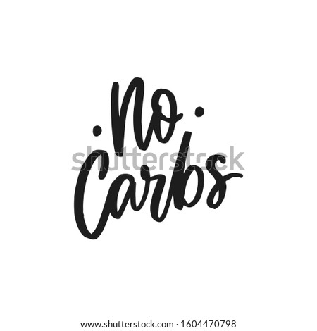 Keto diet hand drawn lettering words for overlay, print. Typographic sign n carbs for packaging, menu. Healthy lifestyle. Foto stock ©