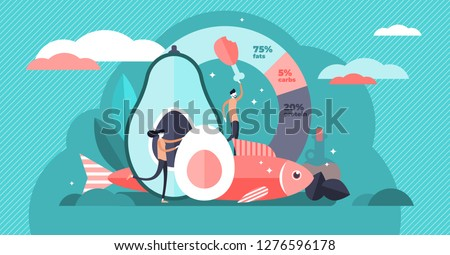 Keto diet vector illustration. Flat tiny persons concept with low carb diet chart. Healthy ketogenic state for depression, fasting and healing. Organic raw nutrition paleo food as caveman lifestyle.