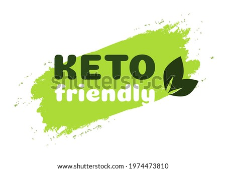 Keto friendly diet nutrition vector symbol on green organic texture isolated on white-ketogenic diet sign, keto diet menu. Vegetables icon eco friendly diet with leaves. 10 eps