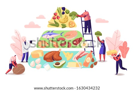 Ketogenic Diet Concept. Characters Set Up Pyramid of Selection of Good Fat Sources, Balanced Low-carb Food Vegetables, Fish, Meat, Cheese, Nuts on Healthy Eating. Cartoon Flat Vector Illustration