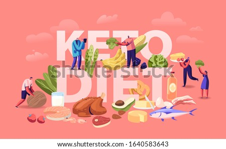 Ketogenic Diet Concept. Male and Female Characters with Balanced Low-carb Food Vegetables, Fish, Meat, Cheese and Nuts. Healthy Eating Poster Banner Flyer Brochure. Cartoon Flat Vector Illustration
