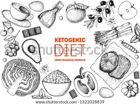 Ketogenic diet hand drawn vector illustration. Organic food diet. Good food illustration. Design elements. Hand drawn sketch. Various food frame. Organic food store concept.
