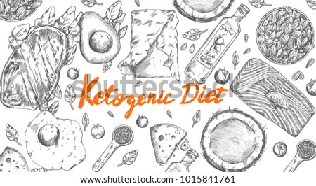 Ketogenic Diet sketch pencil drawing anti-aging anti-inflammatory popular high fat diet to lose weight vector