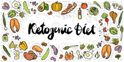 Ketogenic Diet vector sketch banner illustration. Healthy keto food with texture and decorative elements - fats, proteins and carbs on one Keto vector illustration. Low carbs ketogenic diet food
