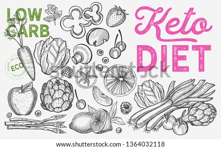 Ketogenic diet vegetables.Vector keto hand drawn illustrations. Healthy and low carb ingredients -fruits and organic food.