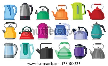 Kettle isolated cartoon set icon. Vector cartoon set icon electric teapot. Vector illustration kettle on white background. Stock photo ©