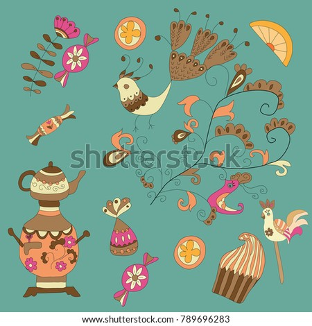 kettle, sweets and fruit, candy