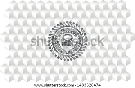 kettlebell icon inside grey badge with geometric cube white background