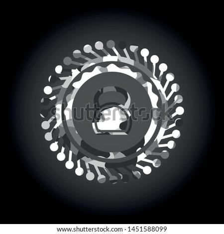 kettlebell icon inside grey camo texture