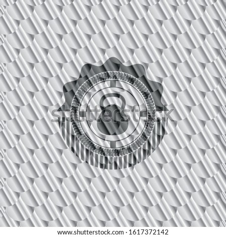 kettlebell icon inside shiny silver badge. Scales pattern. Vector Illustration. Detailed.