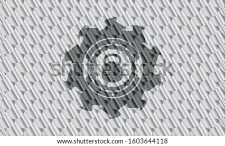 kettlebell icon inside silver color badge or emblem. Scales pattern. Vector Illustration. Detailed.