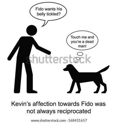Kevin showed his affection towards Fido cartoon isolated on white background  - stock vector
