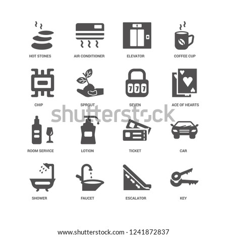 Key, Ace of hearts, Seven, Shower, Car, Hot stones, Chip, Room service, Escalator, Faucet, Elevator icon 16 set EPS 10 vector format. Icons optimized for both large and small resolutions.