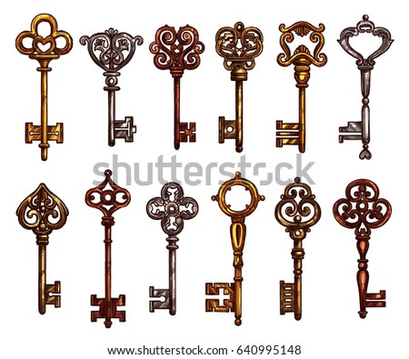 Key and vintage skeleton key isolated sketch. Metal door key, decorated with ornamental forged elements on bow and tip. Tattoo and jewelry themes or secret concept design