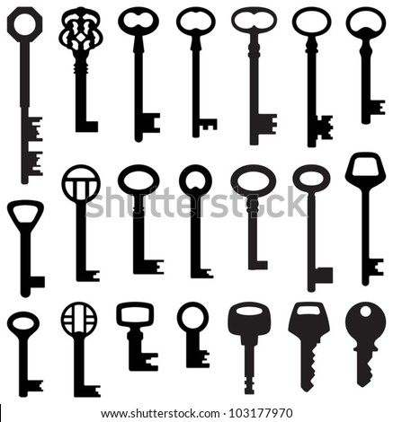Key collection old and new vector silhouette