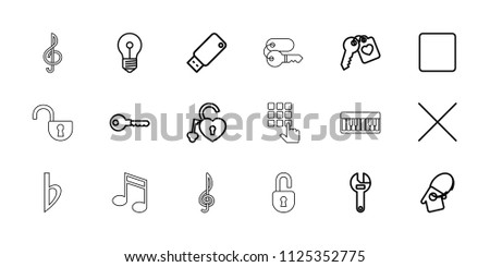 key icon collection of 18 key