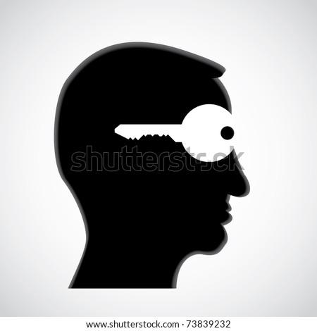 key in head - open mind - illustration