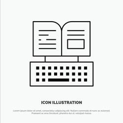 Key, Keyboard, Book, Facebook Vector Line Icon