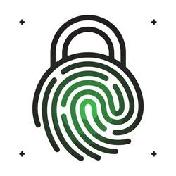 Key lock fingerprint access icon. Vector illustration