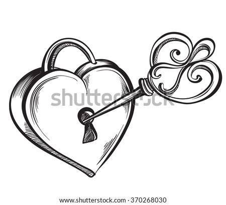 key lock in the shape of a