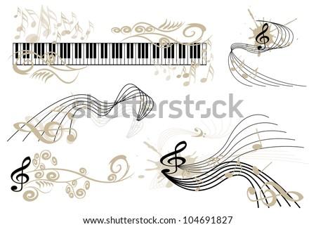 Key  notes and piano keyboard - stock vector