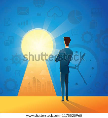 Key of Success business concept illustration of a businessman looking forward to find new opportunity in his life