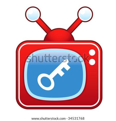 Key or password icon on retro television set