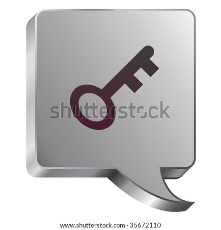 Key or password icon on stainless steel modern industrial voice bubble icon suitable for use as a website accent, on promotional materials, or in advertisements. - stock vector