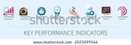 Key performance indicator banner with icons. Performance, measurement, efficiency, quality, growth, implementation, strategy, objective icons. KPI Business Internet Technology Concept. Web vector info