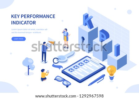 Key performance indicator. Can use for web banner, infographics, hero images. Flat isometric vector illustration isolated on white background.