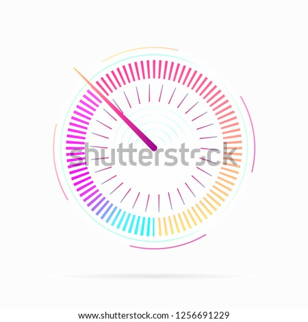 Key performance Indicator. Credit score indicator icon. Speedometer for dashboard. Measuring speed analog indicator device. Technology gauge with arrow pointer , web download speed .Vector