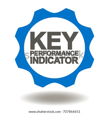 Key Performance Indicator Gear Icon Vector. KPI Cogwheel Illustration. Metrics Strategic Plan Logo. Work Evaluation Service Symbol.