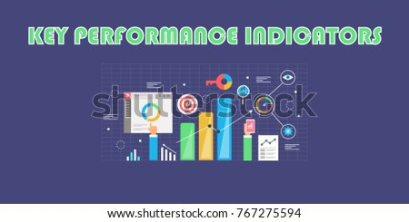 Key performance indicator, KPI, Marketing, Business metrics flat vector illustration banner with icons