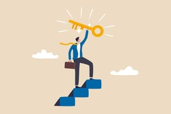 Key to business success, stairway to find secret key or achieve career target concept, businessman winner walk up to top of stairway lifting golden success key to the sky.