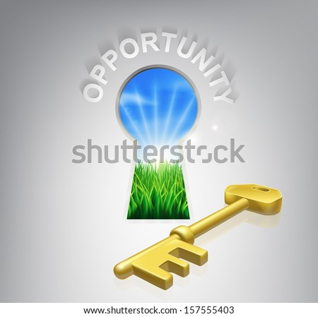 Key to opportunity concept illustration of idyllic sunrise over fields through a keyhole with a golden key and opportunity sign over it. Could be used in business or financial opportunity context.